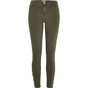 Khaki button Molly jeggings