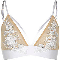 White appliqué flower triangle bra