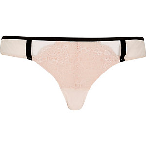 Pink piped lace knickers