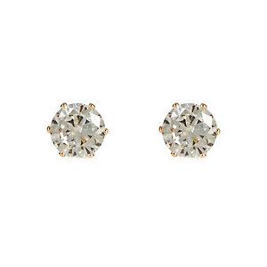 Gold tone large diamond stud earrings