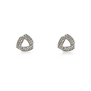 Silver tone oversized knotted earrings