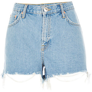 Light blue ripped high waisted denim shorts