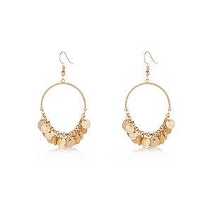 Gold tone coin chandelier dangle earrings
