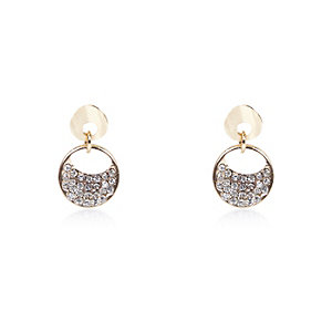 Gold tone embellished circle earrings