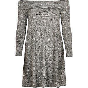 Grey bardot swing dress