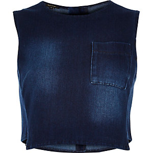 Dark blue cropped denim top