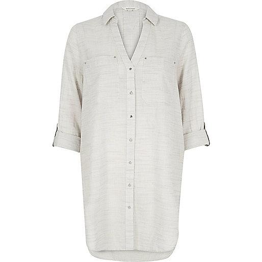 Chemise gris clair longue