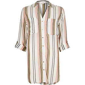 Light brown stripe oversized shirt