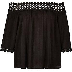 Black lace bardot top