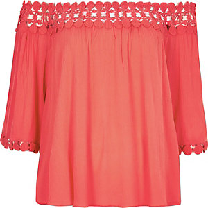 Coral lace bardot top