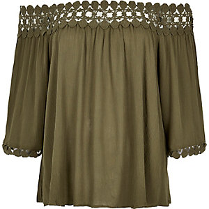Khaki lace bardot top