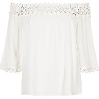 Cream lace bardot top