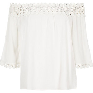 Cream lace bardot top