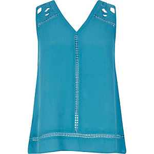 Blue embroidered tank top