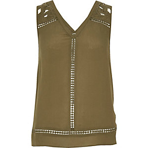 Khaki embroidered tank top