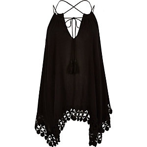 Black trapeze cami top