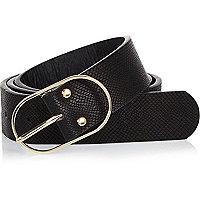 Black snake print belt