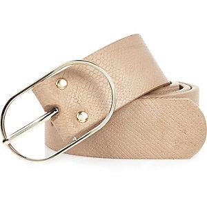 Light brown snake print belt