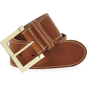 Beige leather waist belt