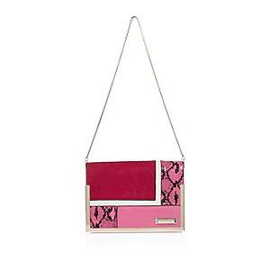 Red snake print handbag
