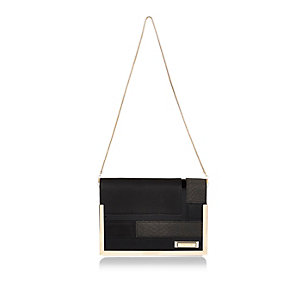 Black patchwork clutch handbag