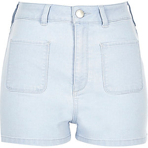 Light blue high waisted denim shorts