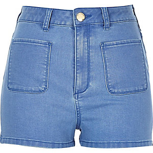 Mid blue high waisted denim shorts