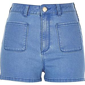 Mid blue high waisted denim shorts