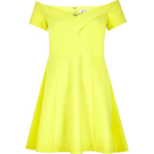 Bright yellow scuba bardot skater dress