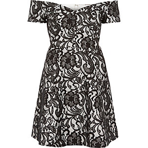 Black lace bardot skater dress