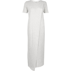 Grey wrap maxi t-shirt dress