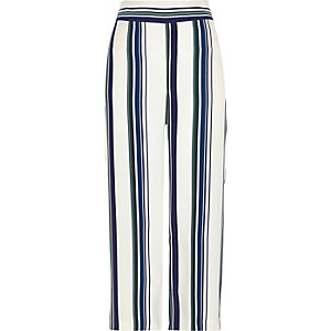 Green stripe soft wide leg cropped trousers