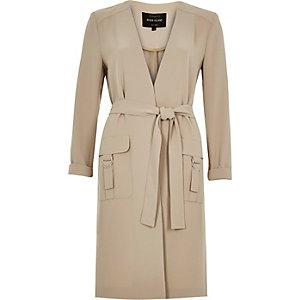 Light brown minimal D-ring duster coat