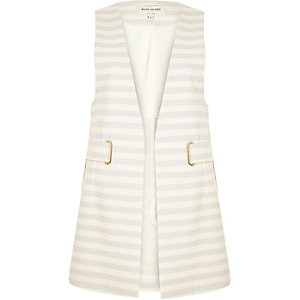 Blue stripe eyelet sleeveless jacket