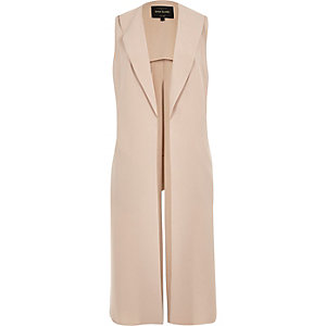 Light pink sleeveless split back jacket
