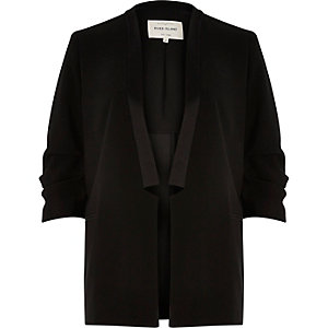 Black smart ruched sleeve blazer