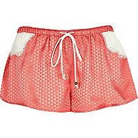 Pink jacquard pajama shorts