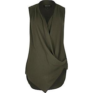 Khaki asymmetric blouse