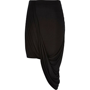 Black jersey draped skirt