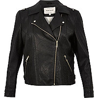 RI Plus leather look biker jacket
