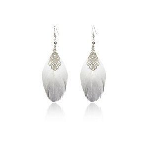 Silver tone filigree feather earrings