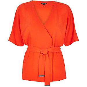 Orange wrap kimono top