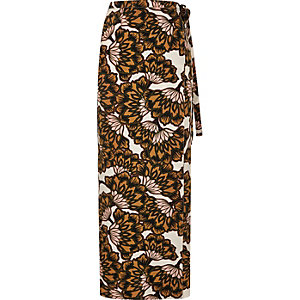 Orange floral print wrap maxi skirt