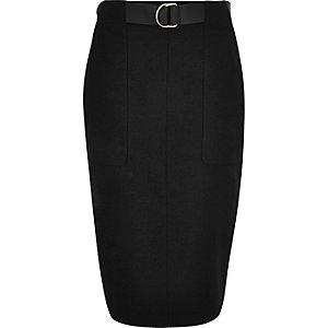 Black belted pencil skirt