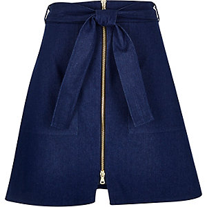 Blue denim zip-up skirt