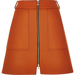 Rust brown A-line skirt
