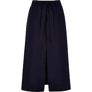 Blue utility split front midi skirt