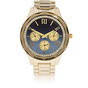Gold tone faceted embellished watch