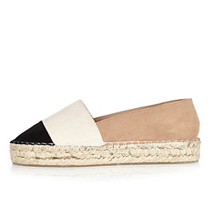 Black color block espadrilles
