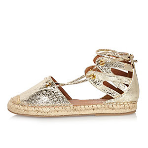 Gold tie-up espadrille sandals
